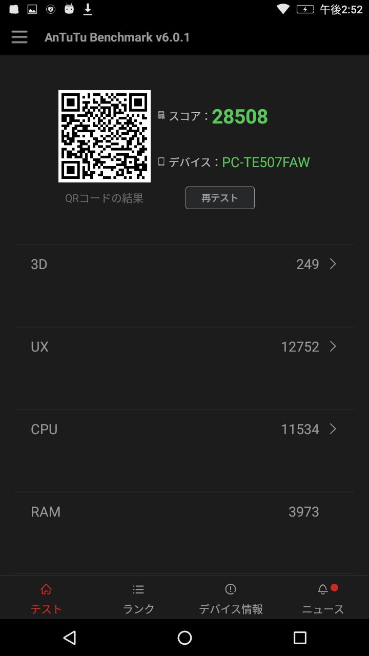 AnTuTuベンチマーク: 総合 28,508。3D 249、UX 12,752、CPU 11,534、RAM 3,973。ランキングとしては最下位
