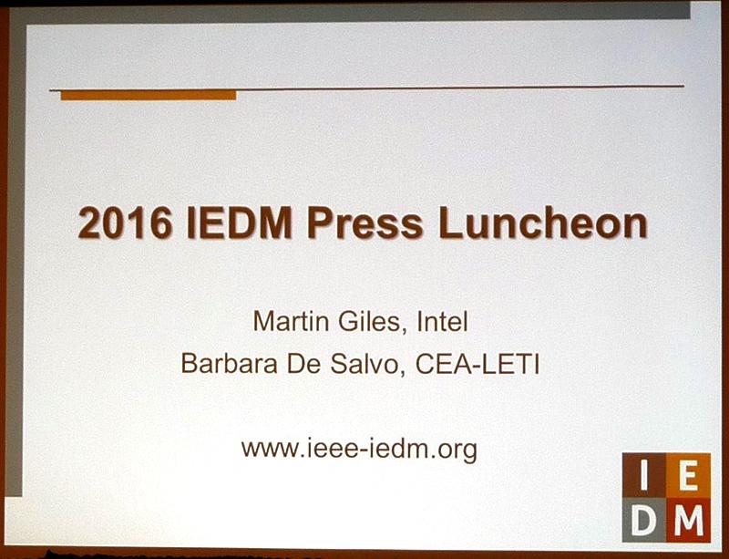 パブリシティチェアのMartin Giles氏(Intel)とパブリシティバイスチェアのBarbara De Salvo氏(CEA-LETI)が、IEDM 2016のハイライトと注目すべき講演を説明した