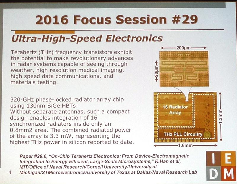 「超高速エレクトロニクス」をテーマとするフォーカスセッション(セッション番号29)の注目講演