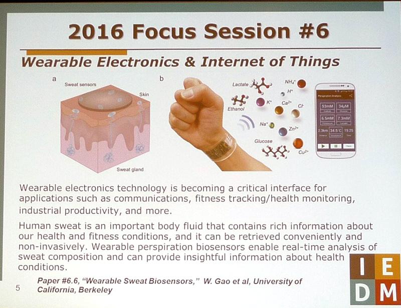 「人体に装着可能なエレクトロニクスとIoT」をテーマとするフォーカスセッション(セッション番号6)の注目講演