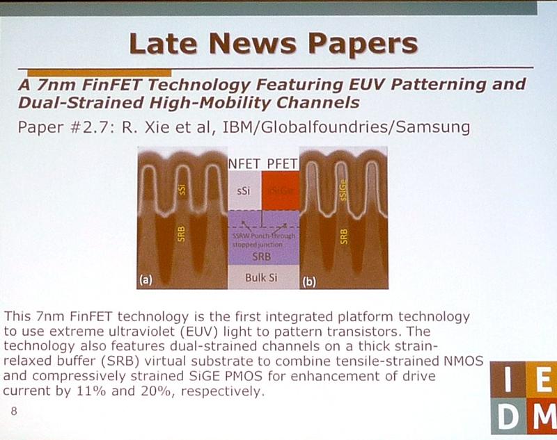 レイトニュースの2件目。IBMなどの共同研究グループによる7nm世代のCMOSロジック製造技術(講演番号2.7)