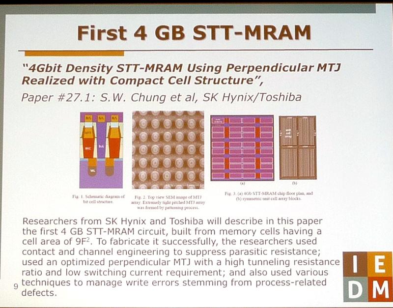 4Gbitと記憶容量が過去最大のMRAM(磁気抵抗メモリ)技術に関するSK Hynixと東芝の共同発表(講演番号27.1)