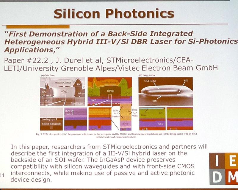 化合物半導体レーザーとシリコンの光導波路を光結合した、ハイブリッド回路。ST Microelectronicsらの共同研究グループが開発した(講演番号22.2)