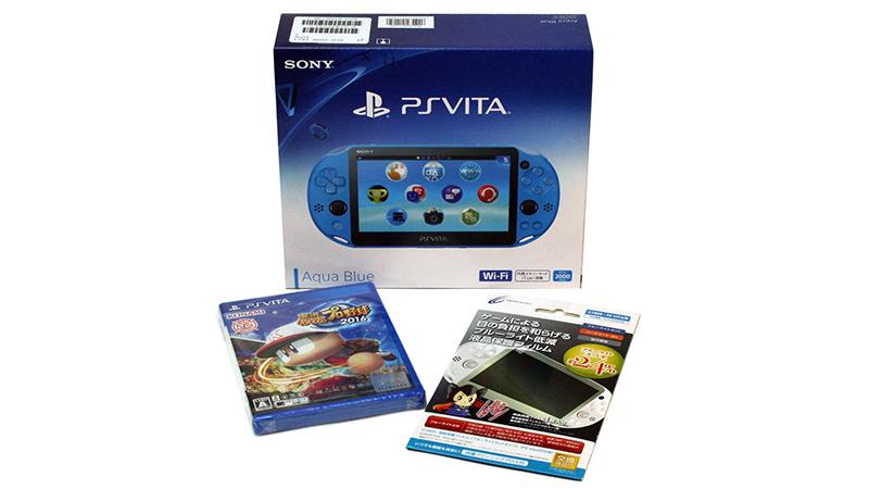 PlayStation Vita Wi-Fiモデル アクア・ブルー(PCH-2000ZA23)+[PS Vita]実況パワフルプロ野球2016(特典なし)+本体保護フィルム1枚セット