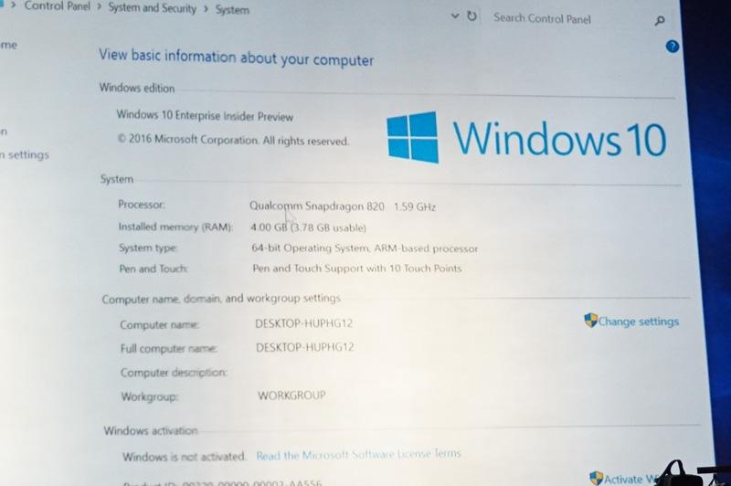 ARM版Windows 10のデバイスマネージャー。Enterprise版のInsider Previewとなっている。メモリは4GBで、64bit版であることが分かる