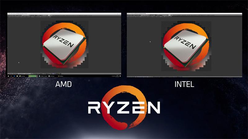 IntelのCore i7-6900KとのBlenderによる3Dレンダリング比較。ほぼ同等の性能を、より低い95WのTDPで実現するという