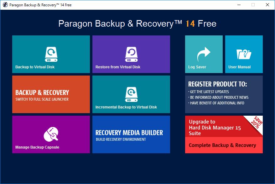 パラゴンソフトウェアの「Paragon Backup & Recovery」。まずは「Backup to Virtual Disk」をクリックしてウィザードを起動する。ちなみに復元用のリカバリメディア作成はこの画面の「RECOVERY MEDIA BUILDER」から行なう
