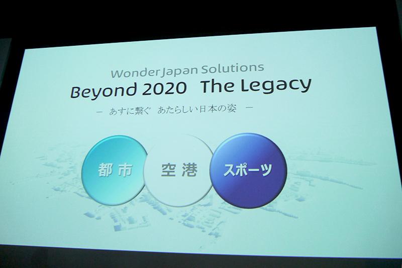 今年のテーマは「Beyond 2020 The Legacy」。都市、空港、スポーツの観点から技術展示した