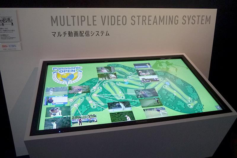 マルチ動画配信システム。サイネージのマップ画面をタッチするとゴルフで同時進行している各ホールのプレイを視聴できる