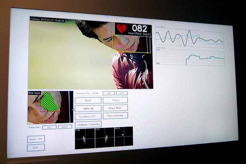 非接触バイタルセンシング@ゴルフ。選手の身体に触れずに心拍数を計測。テレビ放送に活用したり、選手のトレーニング、試合中の指示などにも活用できる