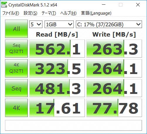 CrystalDiskMark。Seq Q32T1 Read 562.1/Write 263.3、4K Q32T1 Read 323.5/Write 264.1、Seq Read 481.3/Write 264.1、4K Read 17.61/Write 77.78(MB/s)