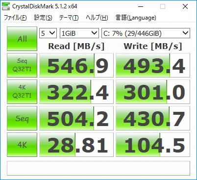 CrystalDiskMark。Seq Q32T1 Read 546.9/Write 493.4、4K Q32T1 Read 322.4/Write 301.0、Seq Read 504.2/Write 430.7、4K Read 28.81/Write 104.5(MB/s)