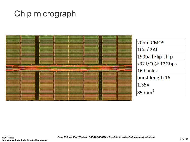 ISSCCで発表されたGDDR5X DRAM