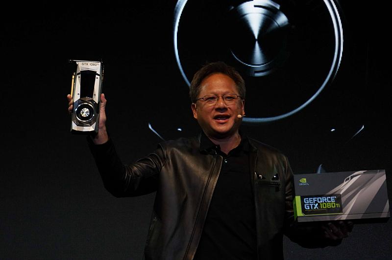 GeForce GTX 1080 Tiを発表するNVIDIAのJen-Hsun Huang(ジェンスン・フアン)氏(Founder, President and CEO, NVIDIA)