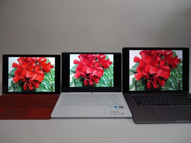 左がSurface Pro 4、中央が13.3型(13Z970-ER33J)、右がMacBook Pro(15インチ、Late 2016)。13.3型はグラデーションが滑らかに出ているが、赤色がピンクがかった不自然な発色に見える