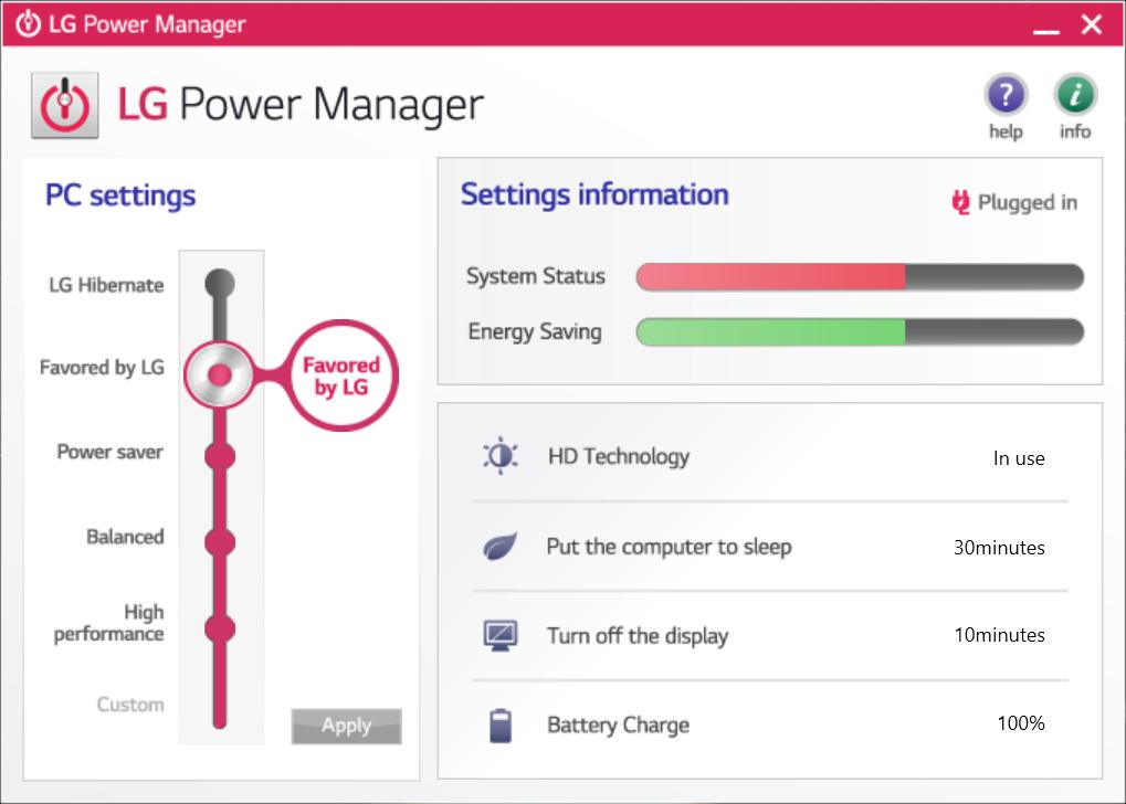 電源設定を変更する「LG Power Manager」