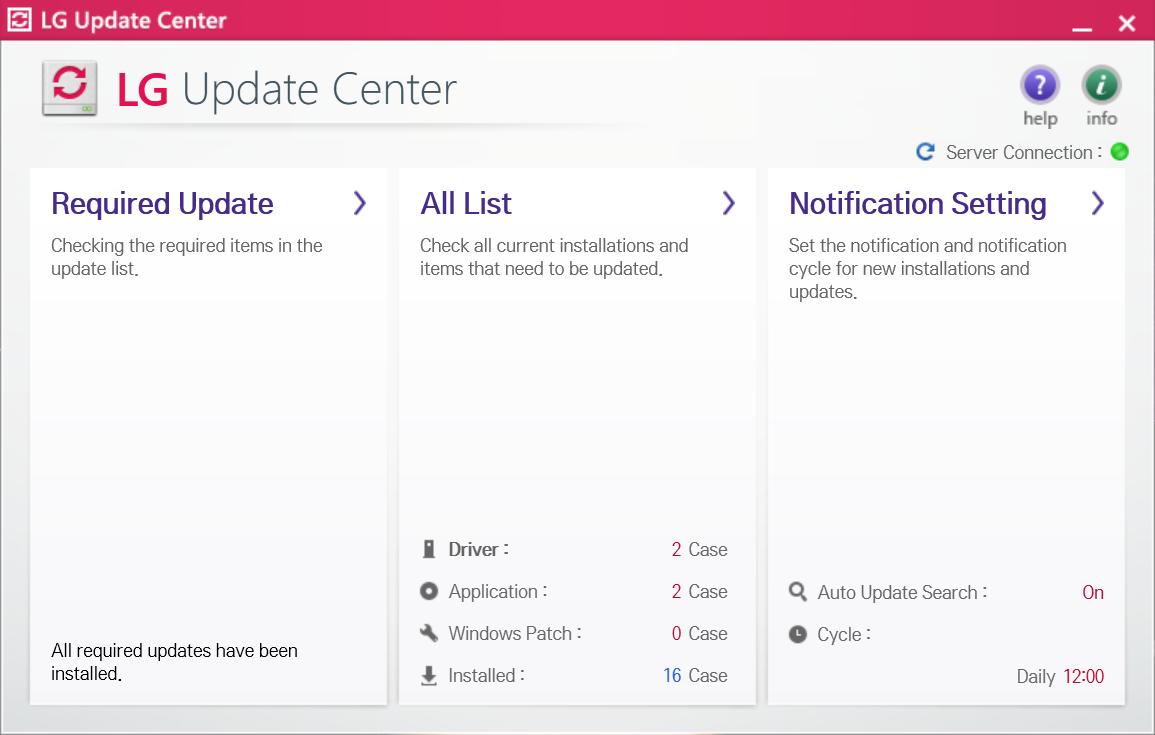 LG gram固有のドライバとアプリを更新する「LG Update Center」