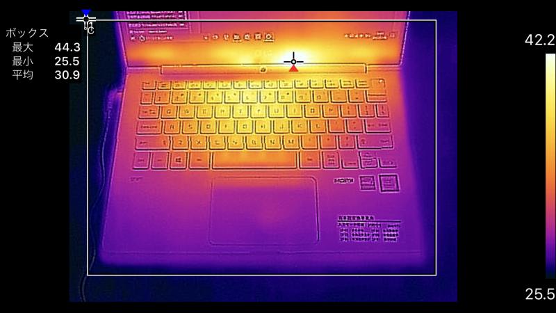 13.3型のキーボード面の最大温度は44.3℃