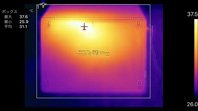 13.3型の底面の最大温度は37.6℃