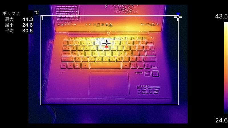 14型のキーボード面の最大温度は44.3℃