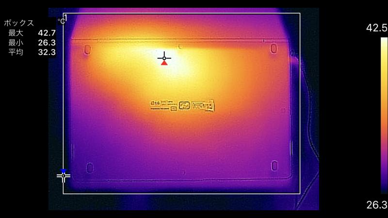 14型の底面の最大温度は42.7℃