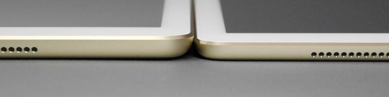 iPad Pro 9.7(右)との厚みの比較。本体端の斜めにカットされている部分をやや上回る厚みの差がある