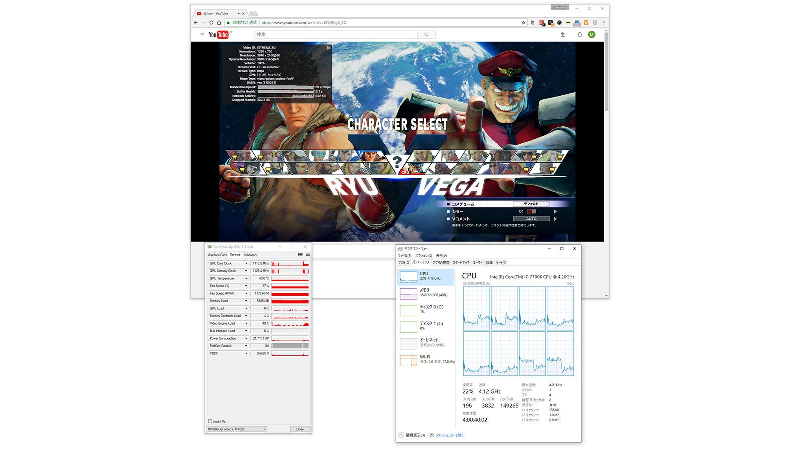 YouTubeで4K60p動画再生時のシステムの負荷