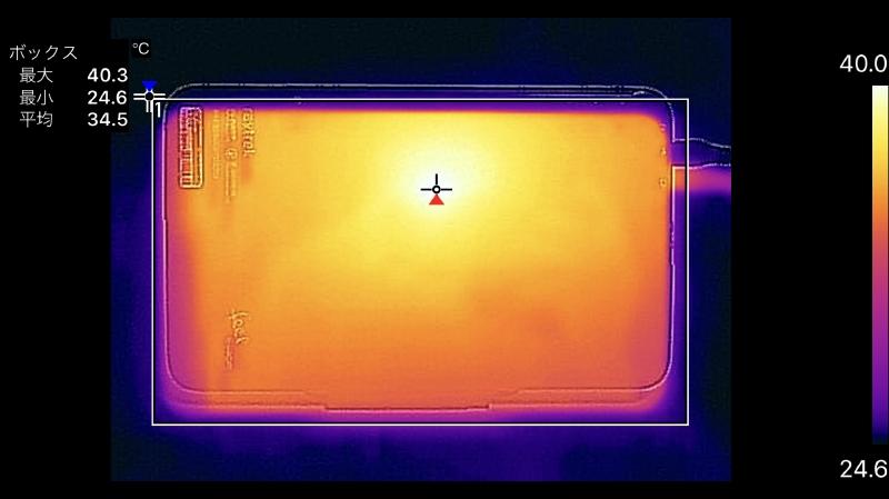 背面の最大温度は40.3℃