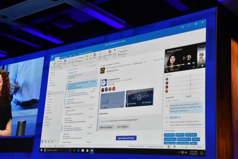 あらゆる面でAIが働き方を支援する。Outlookはビデオ会議の内容をテキスト化してあとでの参照を容易にする