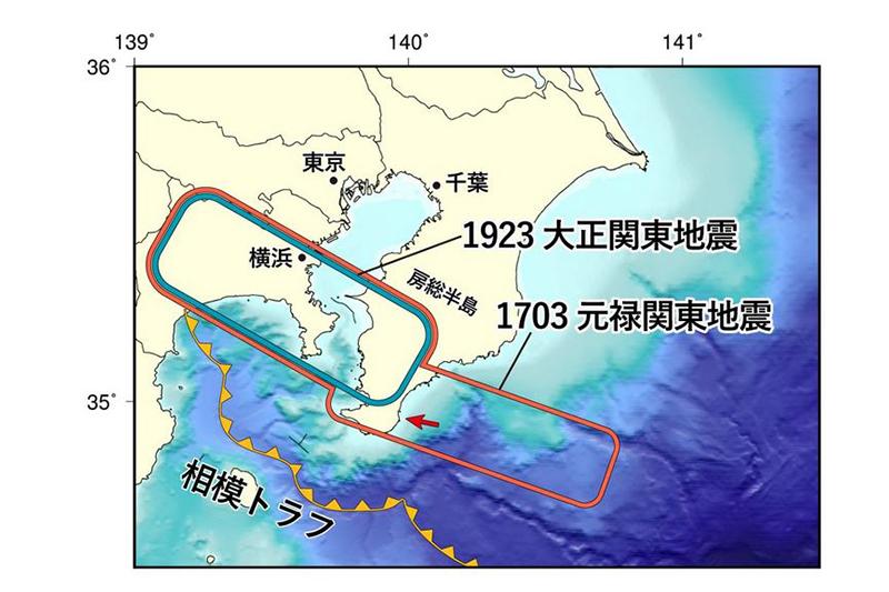 1923年大正関東地震(緑枠)と1703年元禄関東地震(赤枠)の震源域の概要。矢印は今回の調査地域