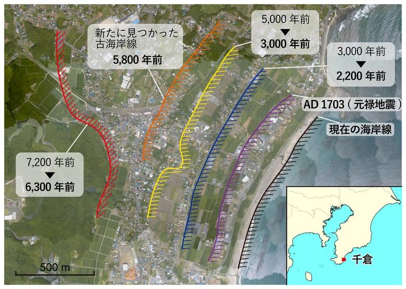 倉地域の海岸段丘の分布とその形成年代。線は過去の海岸線。数値は従来の年代値(上)と本研究で更新された値(下)