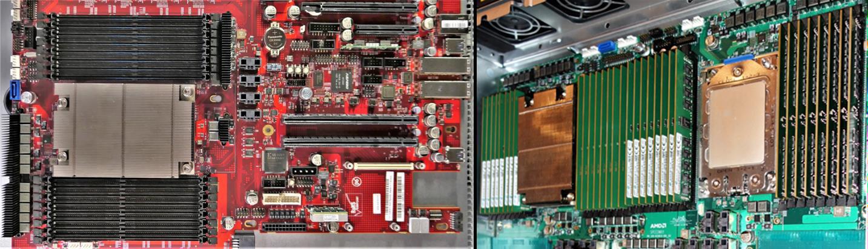 シングルソケットのマザーボード(左)とデュアルソケットのマザーボード(右)