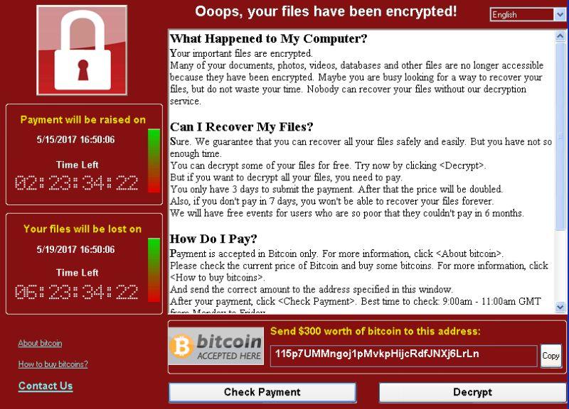 WannaCryの画面