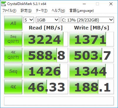システム用ストレージのCrystalDiskMark実行結果