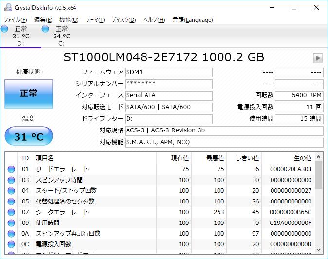 データ用ストレージのCrystalDiskInfo実行結果。「ST1000LM048」はSagateの1TB HDDだ