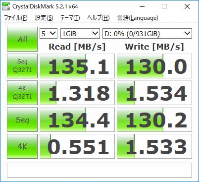 データ用ストレージのCrystalDiskMark実行結果