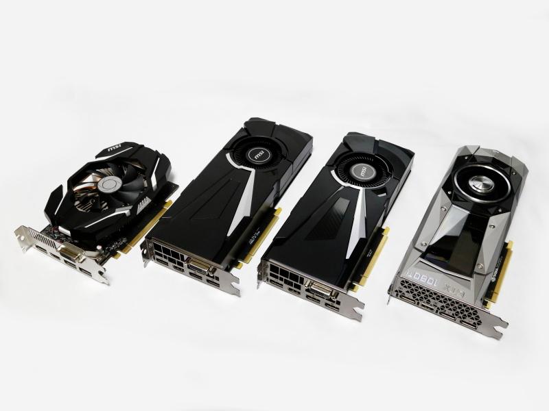 比較に用いたビデオカード。左からGTX 1060 6GB、GTX 1070、GTX 1080、GTX 1080 Ti。