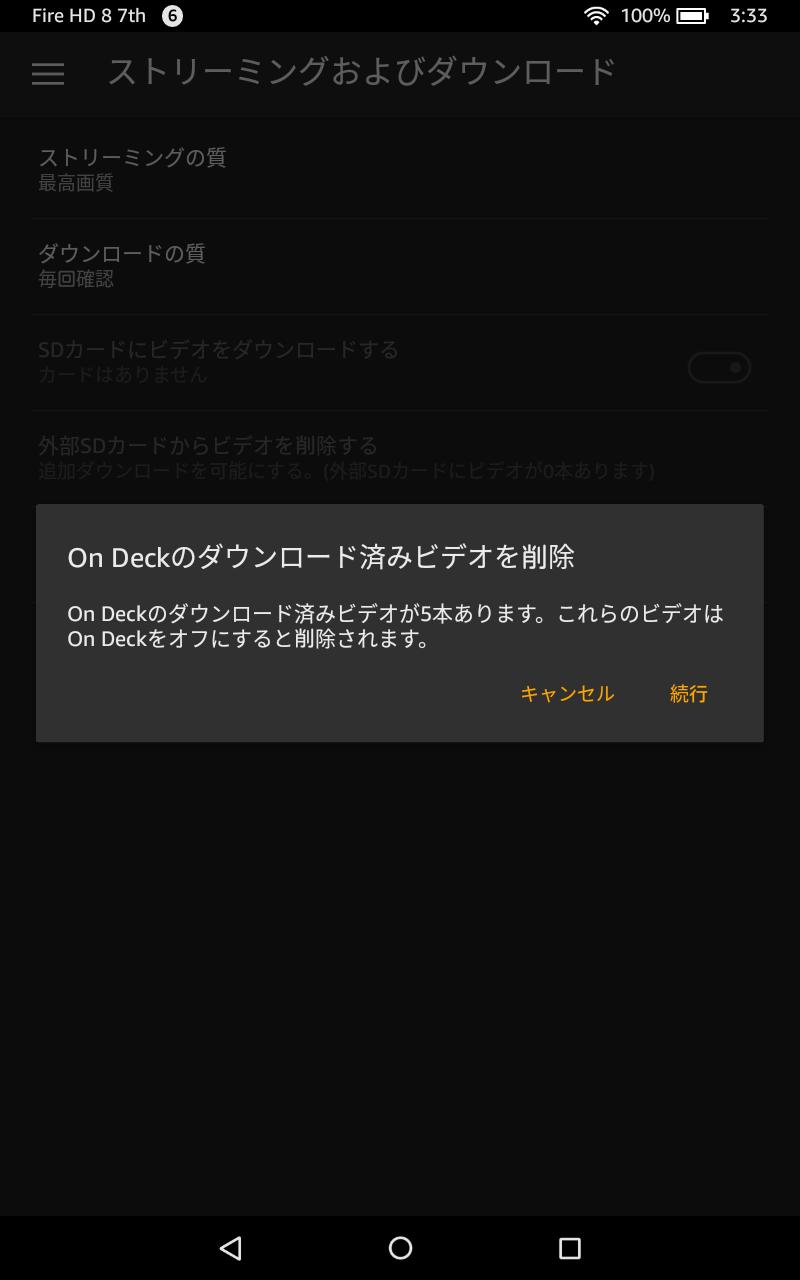 機能をオフにするとダウンロード済みビデオも削除される