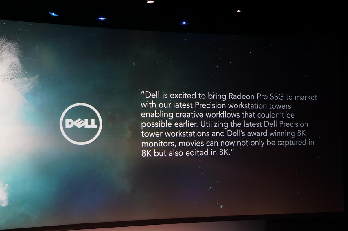Dellが8Kディスプレイだけでなく、Radeon Pro SSGを搭載したワークステーションの投入意向表明を行なう