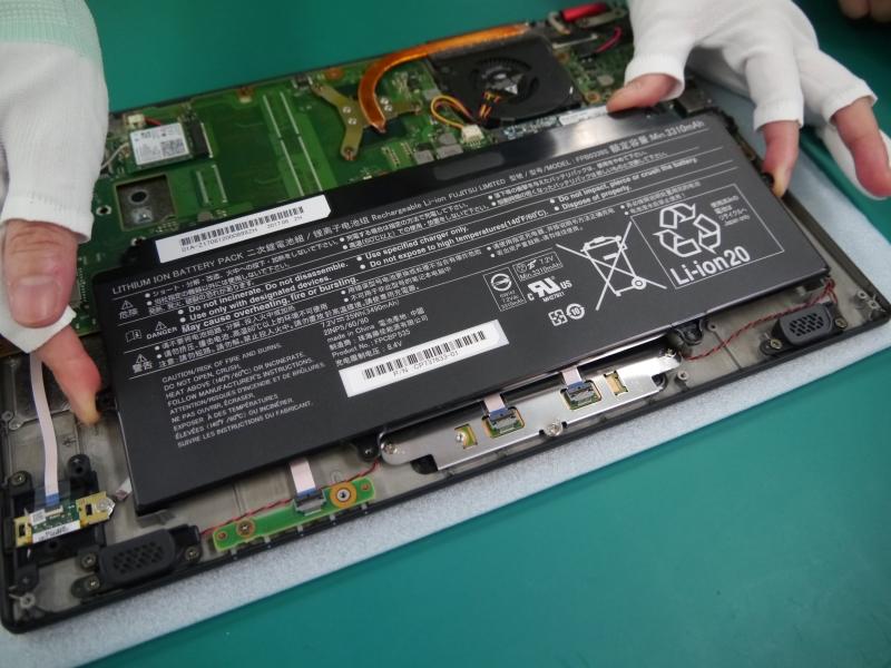 バッテリの取り付け作業