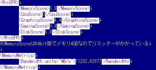 「winsat formal」コマンド結果。総合 4.4。プロセッサ 6、メモリ 5.9、グラフィックス 4.4、ゲーム用グラフィックス n/a、プライマリハードディスク 6.9