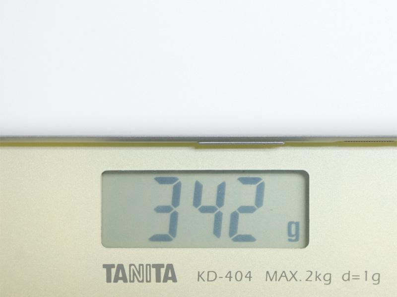 重量は実測で342g