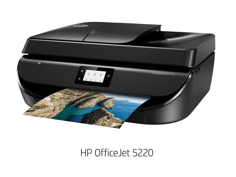 HP OfficeJet 5220<br>直販価格15,800円、10月26日発売<br>家庭またはホームオフィス向けにコストパフォーマンスを高めたスタンダードモデル<br>仕様: A4カラーインクジェット複合機(プリント/コピー/スキャン/FAX)、プリントヘッド一体型(黒: 顔料インク、カラー: 3色一体型染料インク)、印刷速度(A4):モノクロ約10ppm、カラー約7ppm、その他: 2.2型モノクロタッチスクリーン、ADF、自動両面印刷