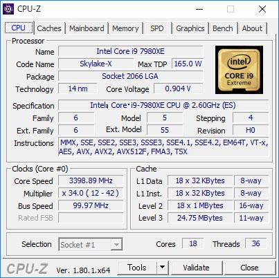 基本クロックは2.6GHz、TB 2.0の上限クロックは4.2GHzだが、全コアが動作するさいの上限クロックは3.4GHz(独自調査)だった