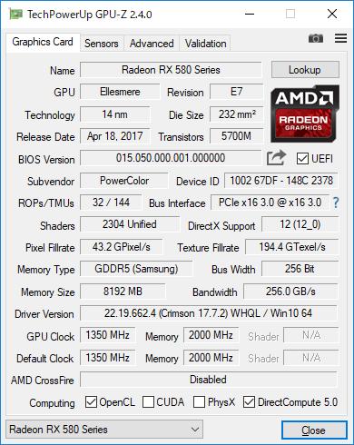 Radeon RX 580のGPU-Z実行画面