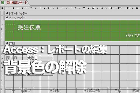 Accessのレポートで1行おきの色を解除する方法