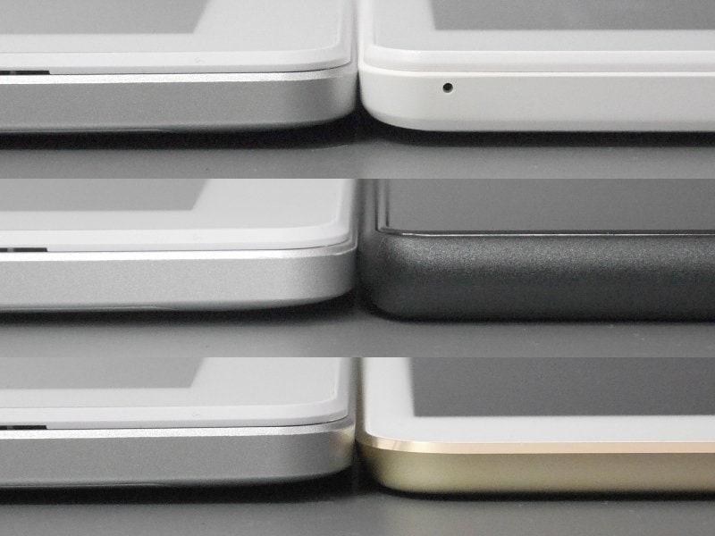 厚みの比較。いずれも左が本製品、右は上から順にBNT-791W、Fire HD 10、10.5インチiPad Pro。BNT-791WおよびFire HD 10とはほぼ同等の厚みだ