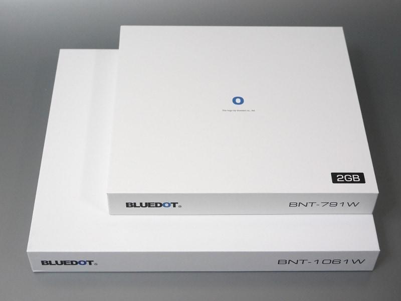 外箱。下が本製品、上に乗っているのは7.9型モデルの「BNT-791W」の外箱。白箱に同社のロゴマークを配置した共通の意匠