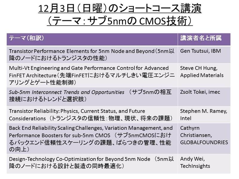ショートコース(サブ5nmCMOS技術)の講演一覧