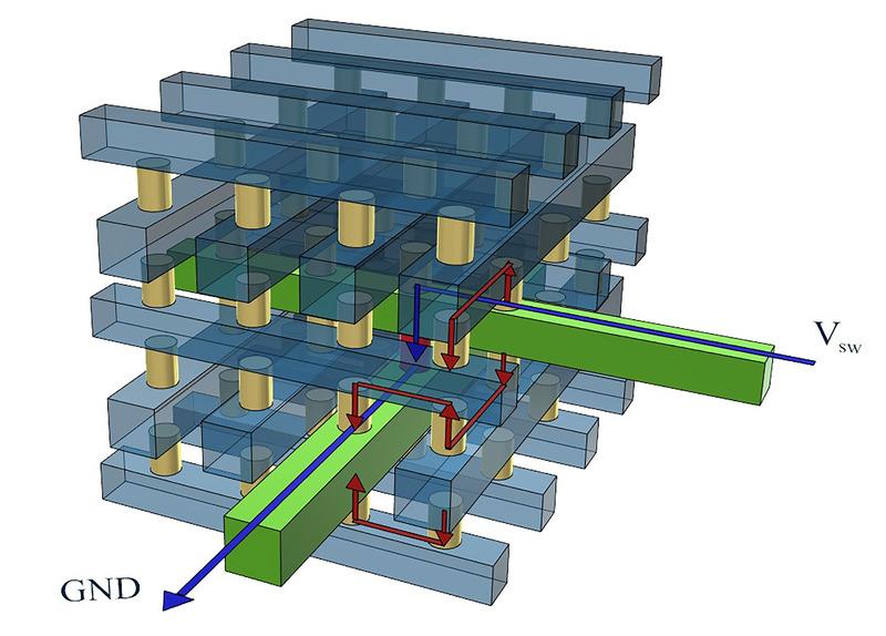 3次元積層タイプのクロスポイントメモリの構造。黄色の円柱がセル選択素子(セレクタ)。青い矢印は通常の電流フロー。赤い矢印は、「スニーク電流」と呼ばれる、不要な電流経路。セレクタの性能が低いと、スニーク電流が発生する。IEDM実行委員会が報道機関向けに発表した資料から